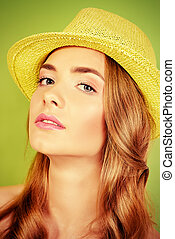 girl in green hat - Portrait of a romantic girl in a straw...