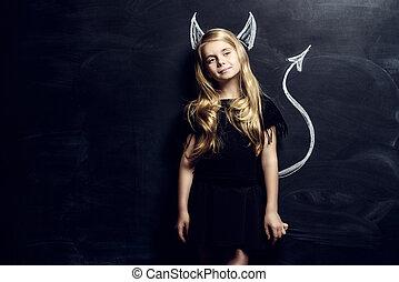 hellion child - Funny little imp girl. Cute child girl...