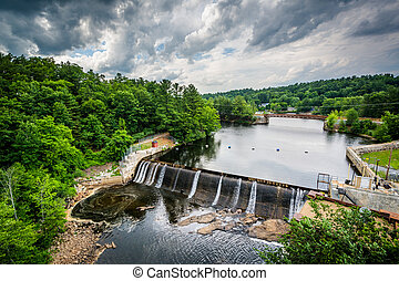 View of a dam on the Piscataquog River, from the Pinard...