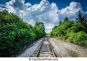 Railroad tracks, in downtown Manchester, New Hampshire