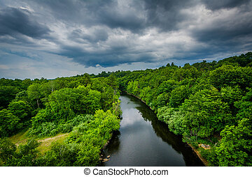 View of the Piscataquog River, from the Pinard Street Bridge...