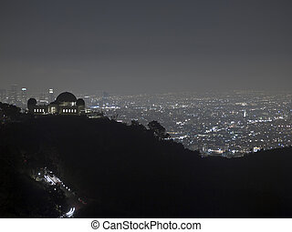 Hollywood Night - Hollywood and downtown Los Angeles on a...