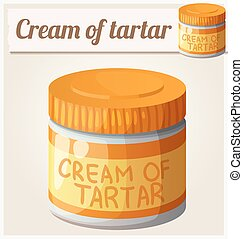 Cream of tartar. Detailed Vector Icon. Series of food and...
