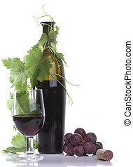 Glass red wine and bottle with grape?s leafs