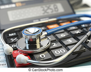Health care costs concept. Stethoscope and calculator  of medical insurance. Medical  background.