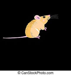 Funny petite mouse - Graphic funny mouse on a black...