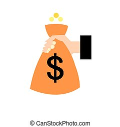 Object bag with money and hand on a white background