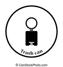 Trash can icon Thin circle design Vector illustration