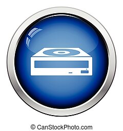 CD-ROM icon. Glossy button design. Vector illustration.