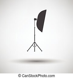 Icon of softbox light on gray background, round shadow....