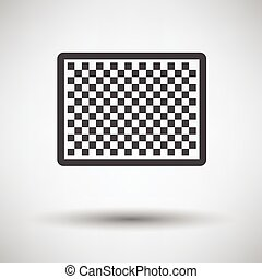 Icon of photo camera sensor on gray background, round...