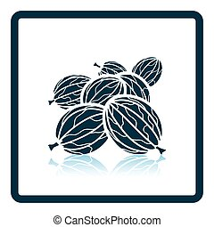 Icon of Gooseberry Shadow reflection design Vector...