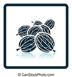 Icon of Gooseberry. Shadow reflection design. Vector...