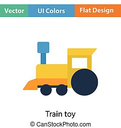 Train toy icon. Flat color design. Vector illustration.
