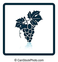 Icon of Grape. Shadow reflection design. Vector...