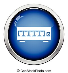 Ethernet switch icon. Glossy button design. Vector...