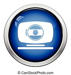 Webcam icon Glossy button design Vector illustration