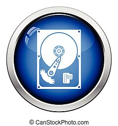 HDD icon Glossy button design Vector illustration