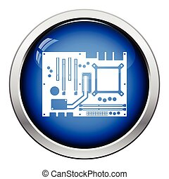 Motherboard icon Glossy button design Vector illustration