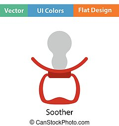 Soother icon. Flat color design. Vector illustration.