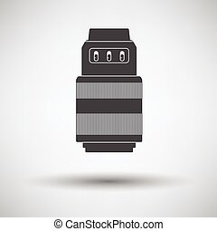 Icon of photo camera zoom lens on gray background, round...