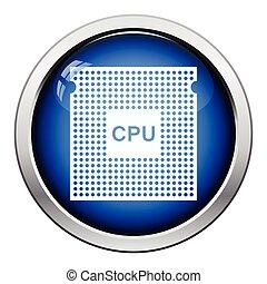 CPU icon Glossy button design Vector illustration
