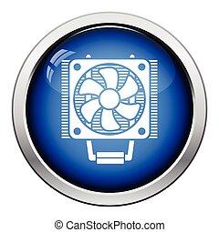 CPU Fan icon Glossy button design Vector illustration