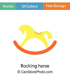 Rocking horse icon. Flat color design. Vector illustration.