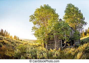Rustic log cabin in the mountains of Idaho