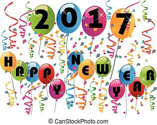 Happy new year 2017 balloons and confetti party celebration