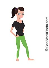 brown hair woman with fitness outfit icon - flat design...