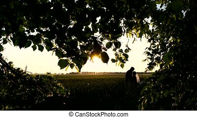 Couple staying in the field