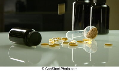 Medication sports medicine, protein, jars and drugs