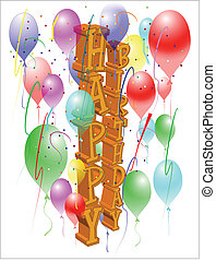 happy birthday card - birthday on white in lateral format...
