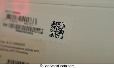 Close up of a 2d barcode reading with a barcode reader, 4k...