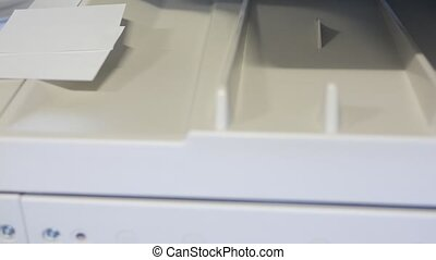 Businessman hand using printer for scanning, printing or...