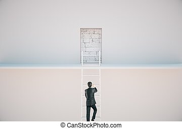 Man escaping from prison - Man climbing ladder to escape...