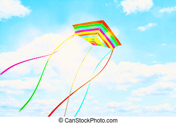 colorful kite flying in the blue sky