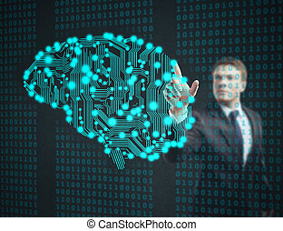 businessman touch circuit board in form of human brain