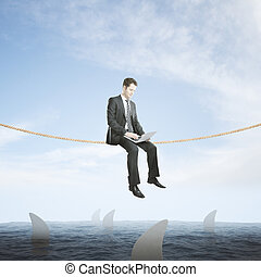 Risk concept businessman above sharks - Risk concept with...