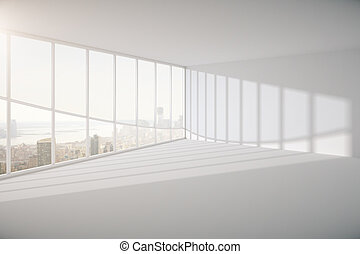 Spacious interior with railing and windows with city view....