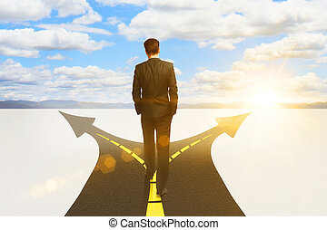 businessman standing on highway road - Success concept with...