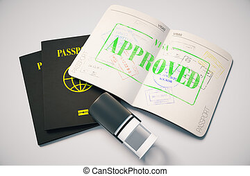 Approved visa - Passport with green approved visa stamp on...