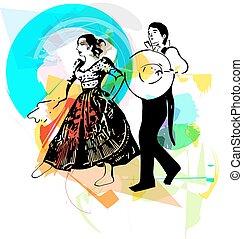 Ilustração, de, par, Dançar, marinera