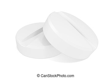 Two pills close-up isoleted on white background. 3d illustration