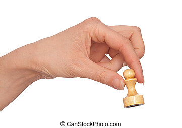 white pawn - Woman playing chess and making pawn move