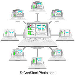 Webinar - Network of Linked Computers - Illustration of a...