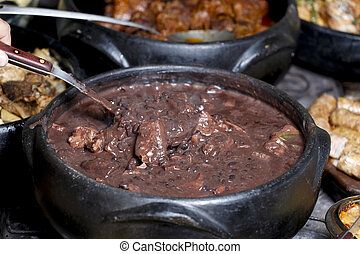 Feijoada, em, a, panela, Brasileiro, cozinha