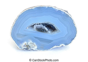 Blue Agate Geode - Blue Cut Agate Geode with Crystals Inside