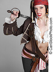 Sexy Pirate - Sexy female pirate holding sword